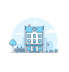 City building - modern thin line design style vector