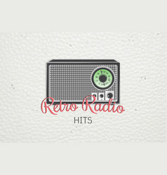 color sticker retro radio detailed elements old vector image