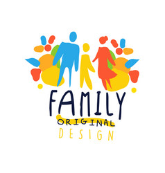 colorful happy family logo design with mother vector image