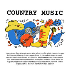 Country music article western festival illu vector