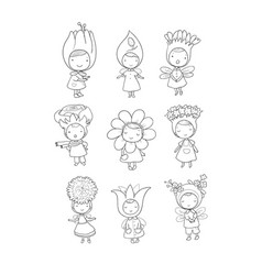 cute cartoon flower fairies forest gnomes vector image