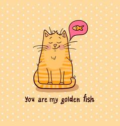 cute cat golden fish vector image