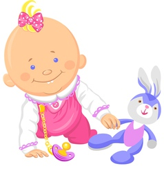 Cute smiling bagirl playing with a toy rabbit vector