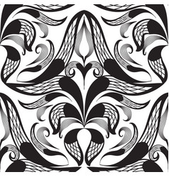 damask black and white decorative seamless vector image
