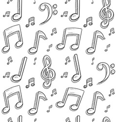 doodle music notes pattern seamless background vector image