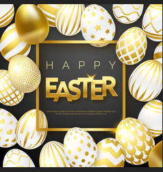 easter black background with realistic golden vector image