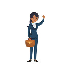 Ethnic businesswoman character with briefcase vector
