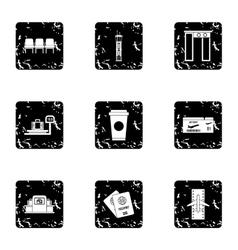 Flights icons set grunge style vector