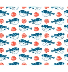 Fugu and shells seamless pattern vector