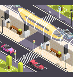 Futuristic transport isometric background vector