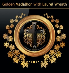 Gold medallion wreath vector