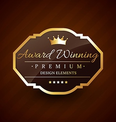 golden award winning premium beautiful label vector image