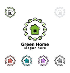 Green home logo real estate logo design vector
