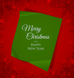 green merry christmas sheet paper placed vector image