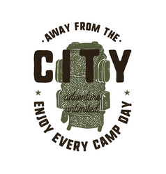 hand drawn adventure logo with backpack and quote vector image