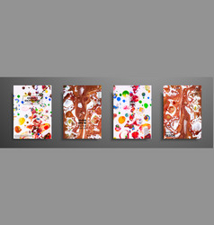 hand drawn collection of card made by acrylic vector image