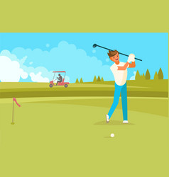 happy man playing golf flat vector image