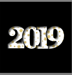 happy new year card white 3d number 2019 golden vector image
