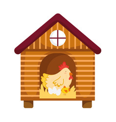 hen chicken and eggs in wooden house farm animal vector image