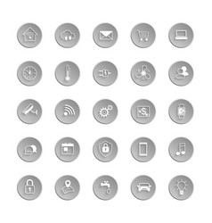 internet of things web icon set automation system vector image