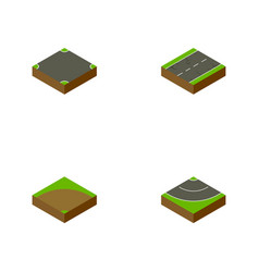 Isometric road set of sand cracks road vector