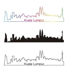 Kuala Lumpur skyline linear style with rainbow vector