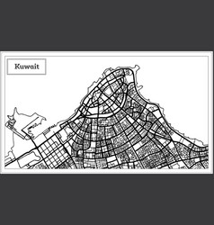 kuwait map in black and white color vector image
