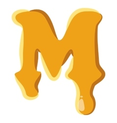 Letter M from honey icon vector image