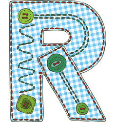 Letter r in patchwork style vector