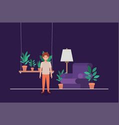 Little boy in livingroom vector