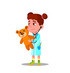 little girl in white coat and stethoscope plays vector image