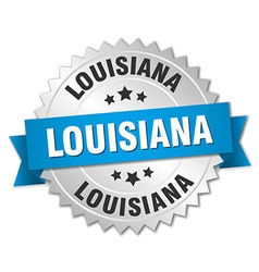 Louisiana round silver badge with blue ribbon vector