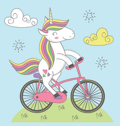 magic unicorn rides bicycle vector image