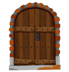 Medieval style of wooden door vector