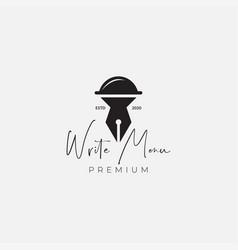 Menu restaurant with pen for booking logo design vector