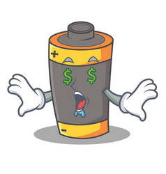 Money eye battery mascot cartoon style vector
