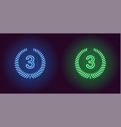 Neon icon of blue and green third place vector