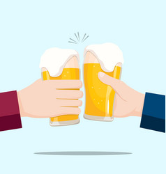 people celebrating with beer glasses and blue vector image