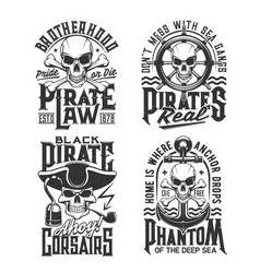 Pirate captain and corsair skull t-shirt prints vector