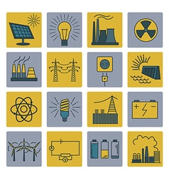 Power energy icon set Colour version design vector image