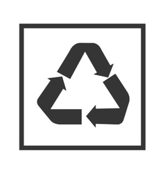 recycle sign in black square vector image