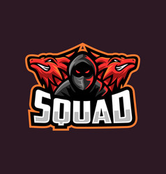 Red dragon with boy logo for gaming squad vector