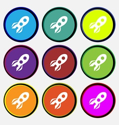 Rocket icon sign Nine multi colored round buttons vector image