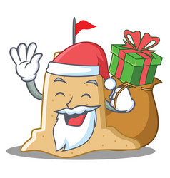 Santa with gift sandcastle character cartoon style vector