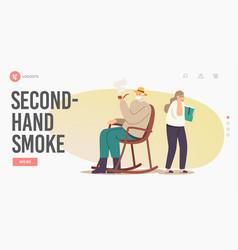 Second-hand smoke landing page template senior vector