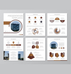 Set of brown elements for multipurpose a4 vector