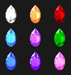 set of drop shaped gemstones of different colors vector image