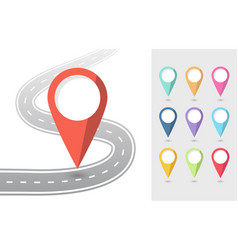set pin pointers flat icons with road eps 10 vector image