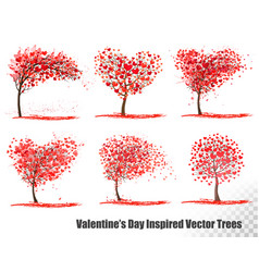 Set valentines day inspired trees vector