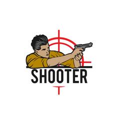 Shooter shooting from a gun on plates mark logo vector